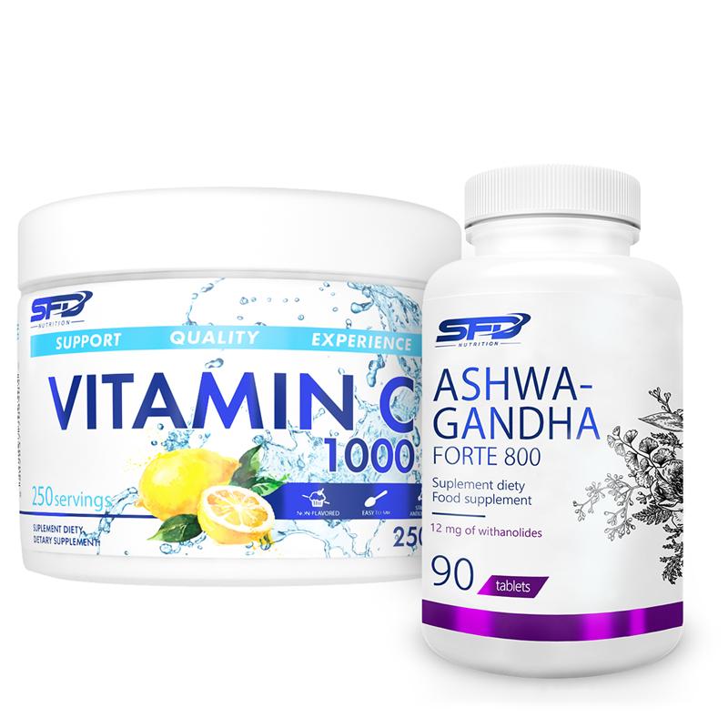 SFD NUTRITION Ashwagandha Forte 800 90tab + Vitamin C 250g Gratis