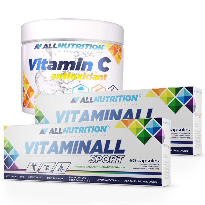 ALLNUTRITION 2x VitaminALL Sport 60 kaps + Vitamin C 250g