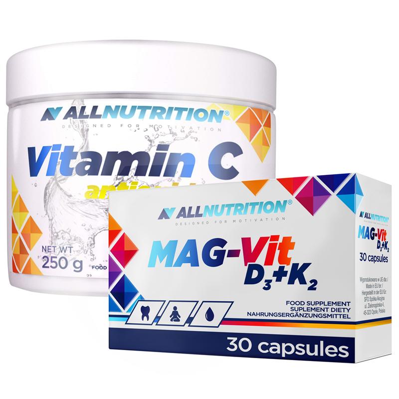 ALLNUTRITION Mag-Vit D3+K2 30kap + Vitamin C Antioxidant 250g