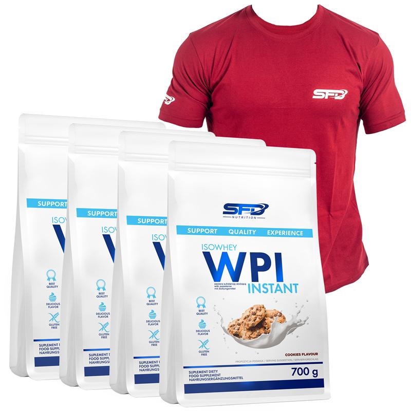 SFD NUTRITION 4x WPI Isowhey Instant + T-Shirt Athletic Bordowy GRATIS