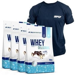 4x Whey Delicious Protein 700g+T-Shirt Athletic Granatowy GRATIS