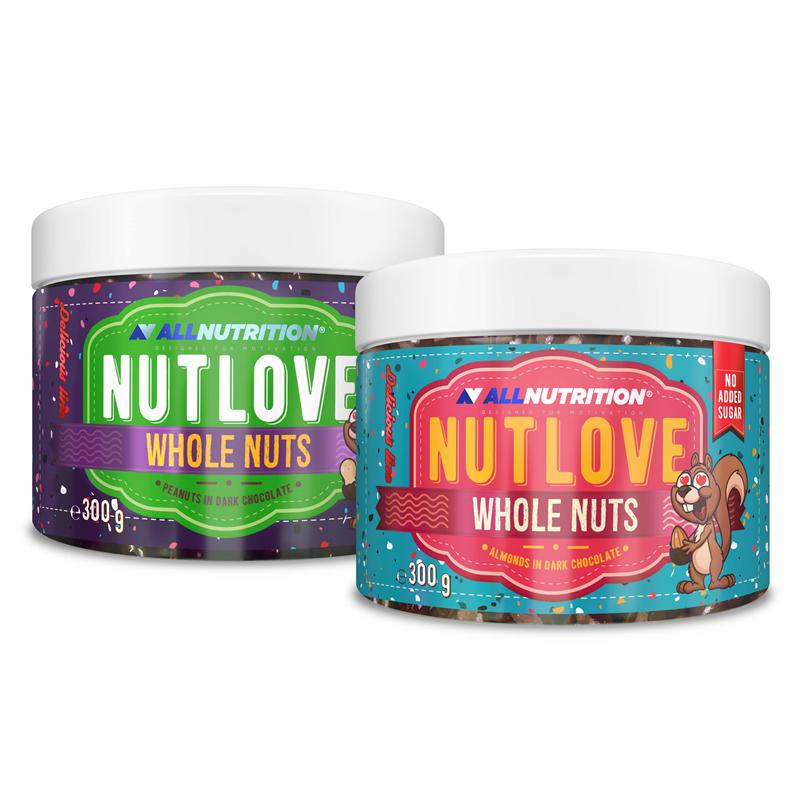 ALLNUTRITION NUTLOVE WHOLENUTS MIGDAŁY 300g +  NUTLOVE WHOLENUTS ARACHIDY W CIEMNEJ CZEKOLADZIE 300G