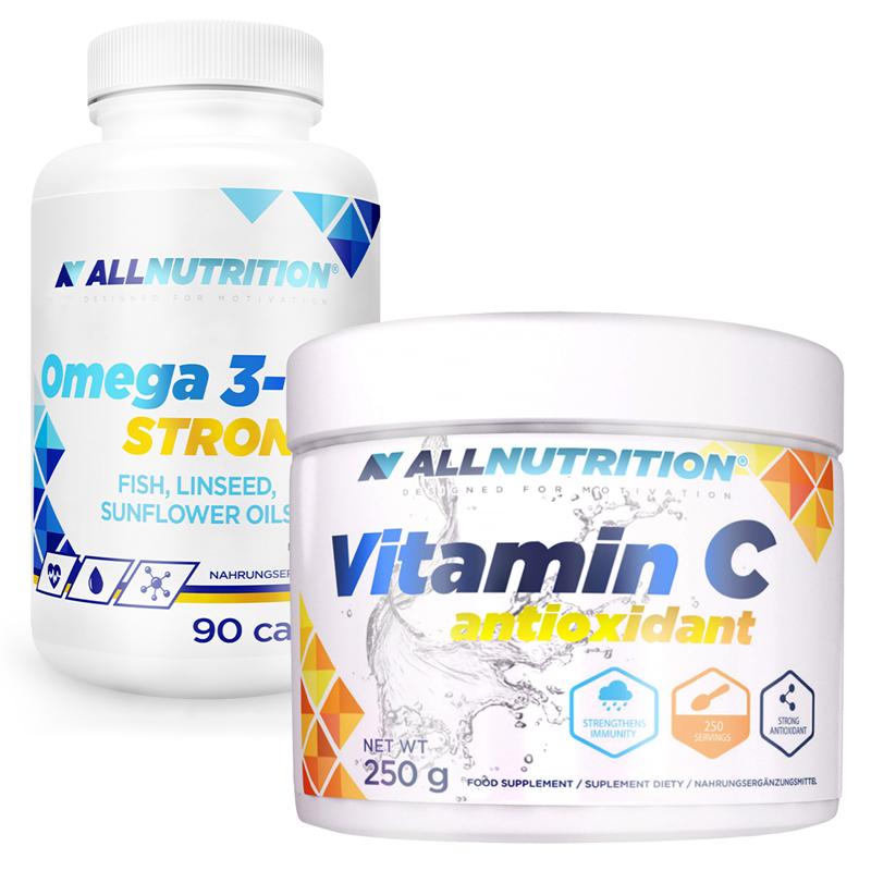 ALLNUTRITION Omega 3 Strong 90 kapsułek + Vitamin C 250g Gratis