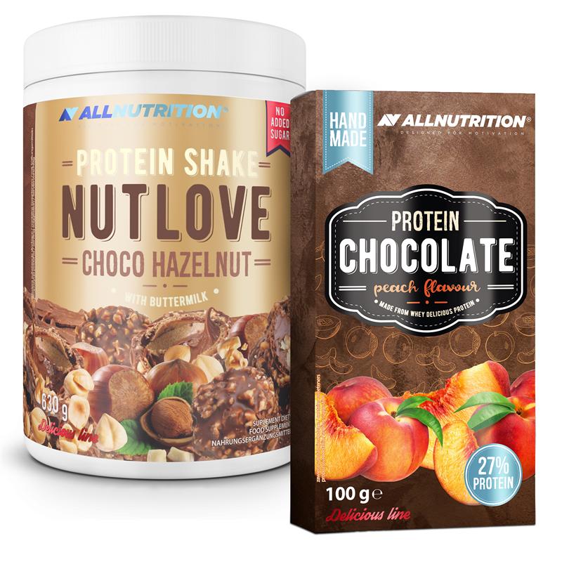 ALLNUTRITION NUTLOVE Protein Shake Chocolate Hazelnut 630g + Protein Chocolate 100g GRATIS