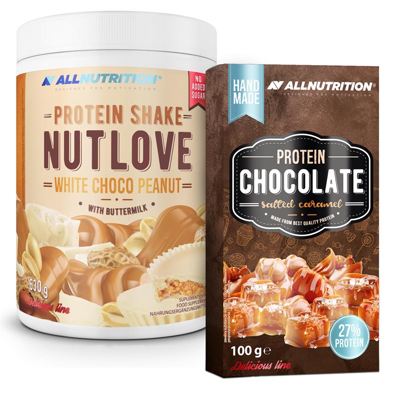 ALLNUTRITION NUTLOVE Protein Shake White Choco Peanut 630g + Protein Chocolate 100g GRATIS