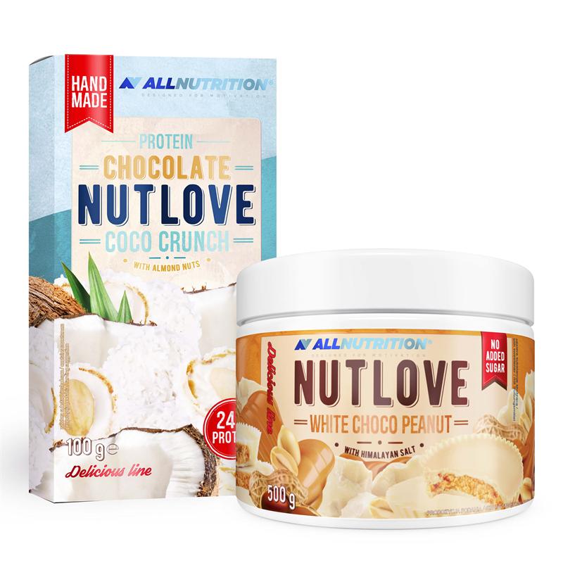 ALLNUTRITION NUTLOVE WHITE CHOCO PEANUT 500g + PROTEIN CHOCOLATE NUTLOVE COCO CRUNCH 100g