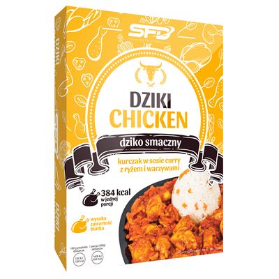 Dziki Chicken - Kurczak w sosie curry z ryżem i warzywami