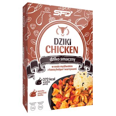 Dziki Chicken - Kurczak w sosie myśliwskim z kaszą bulgur i warzywami
