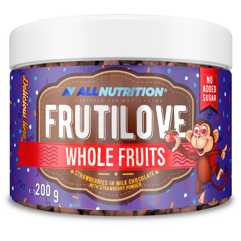 ALLNUTRITION FRUTILOVE WHOLE FRUITS - TRUSKAWKI W MLECZNEJ CZEKOLADZIE OPRÓSZONE PUDREM TRUSKAWKOWYM