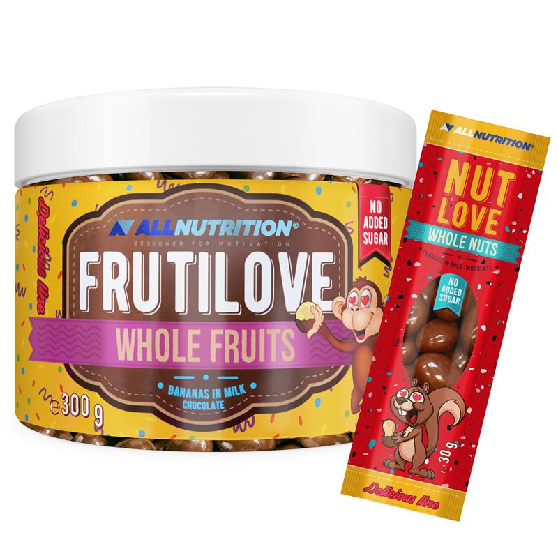 ALLNUTRITION FRUTILOVE Whole Fruits - Banany W Mlecznej Czekoladzie 300g+NUTLOVE WHOLENUTS 30G GRATIS