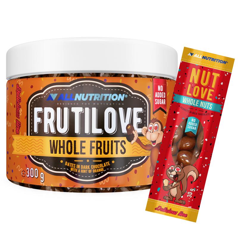ALLNUTRITION FRUTILOVE Whole Fruits - Daktyle W Ciemnej Czekoladzie Z Nutą Pomarańczy 300G+NUTLOVE WHOLENUTS 30G
