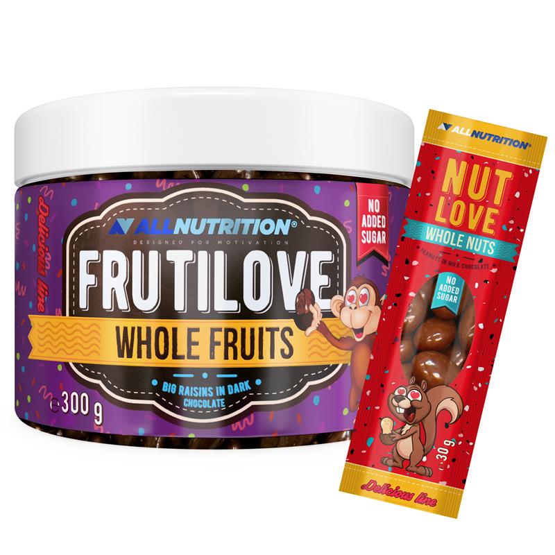 ALLNUTRITION FRUTILOVE Whole Fruits - Duże Rodzynki W Ciemnej Czekoladzie 300g+NUTLOVE WHOLENUTS 30g GRATIS