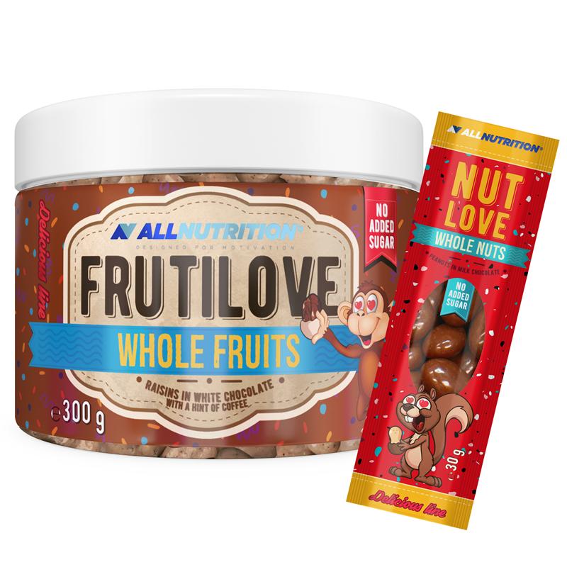 ALLNUTRITION FRUTILOVE Whole Fruits - Rodzynki W Białej Czekoladzie Z Nutą Kawy 300g+NUTLOVE WHOLENUTS 30G GRATIS