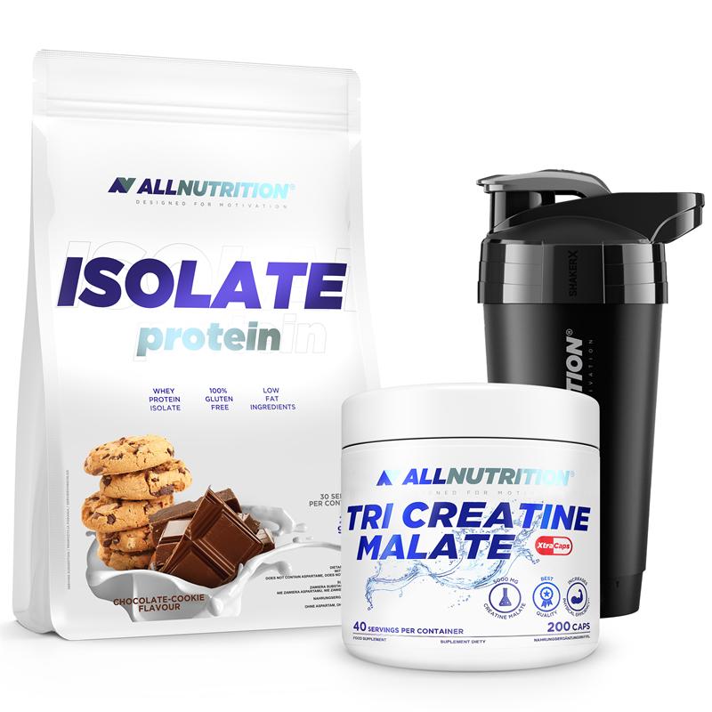 ALLNUTRITION Isolate Protein 908g + Tri Creatine Malate 200kap + Shaker Premium GRATIS