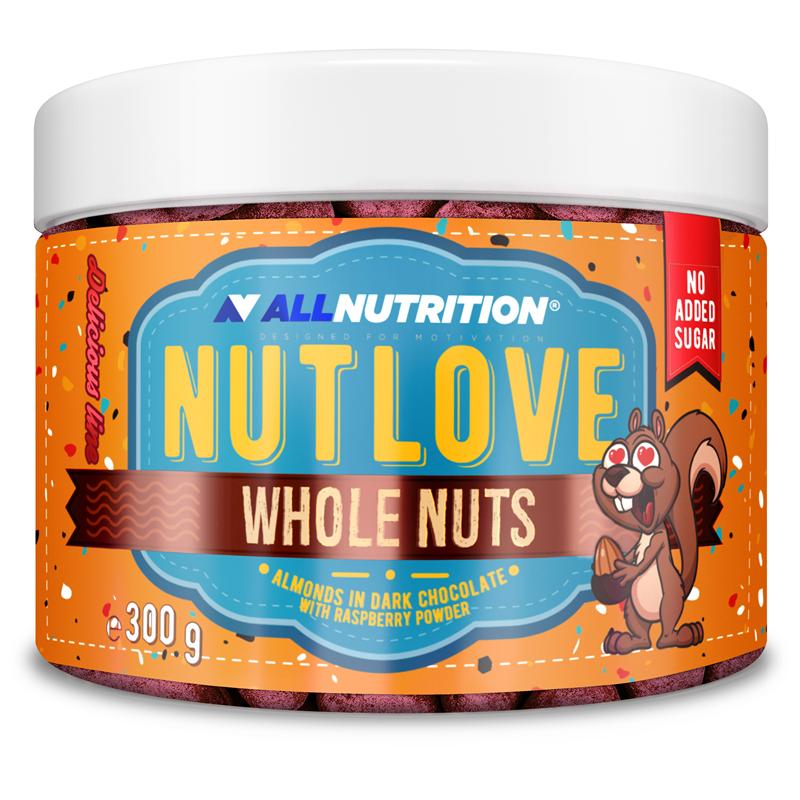 ALLNUTRITION NUTLOVE WHOLENUTS - Migdały W Ciemnej Czekoladzie Oprószone Malinami