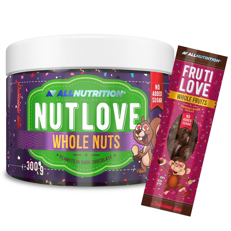 ALLNUTRITION Nutlove Wholenuts - Arachidy W Ciemnej Czekoladzie 300g+FRUTILOVE WHOLE FRUITS 30G GRATIS