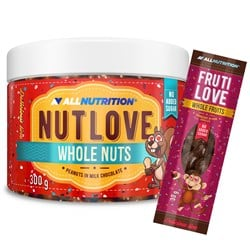 Nutlove Wholenuts - Arachidy W Mlecznej Czekoladzie 300g+FRUTILOVE WHOLE FRUITS 30G GRATIS
