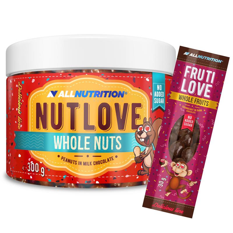 ALLNUTRITION Nutlove Wholenuts - Arachidy W Mlecznej Czekoladzie 300g+FRUTILOVE WHOLE FRUITS 30G GRATIS