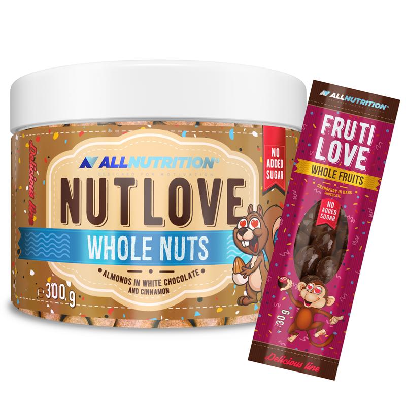 ALLNUTRITION Nutlove Wholenuts - Migdały W Białej Czekoladzie I Cynamonie 300g+FRUTILOVE WHOLE FRUITS 30G GRATIS