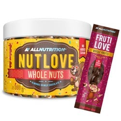 Nutlove Wholenuts - Migdały W Mlecznej Czekoladzie 300g+FRUTILOVE WHOLE FRUITS 30G GRATIS