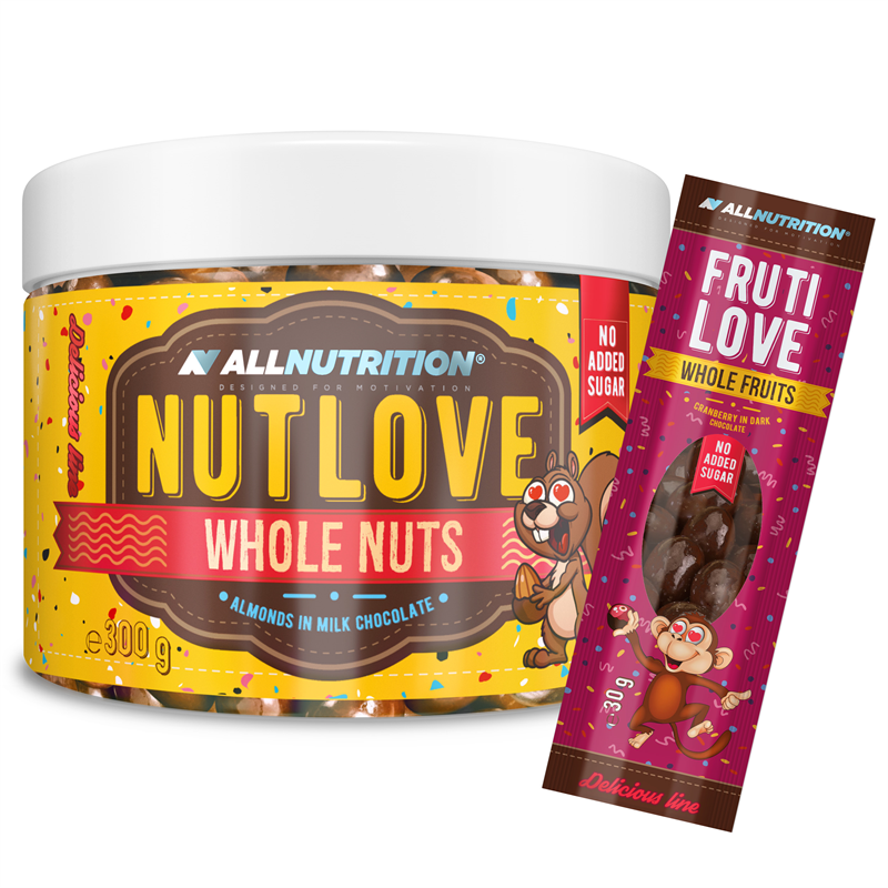 ALLNUTRITION Nutlove Wholenuts - Migdały W Mlecznej Czekoladzie 300g+FRUTILOVE WHOLE FRUITS 30G GRATIS