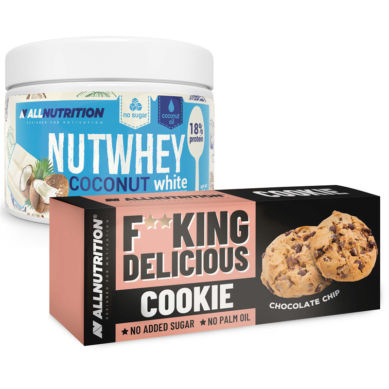 ALLNUTRITION Nutwhey Coconut White 500g + Fitking Delicious Cookie Chocolate Chip 135g GRATIS