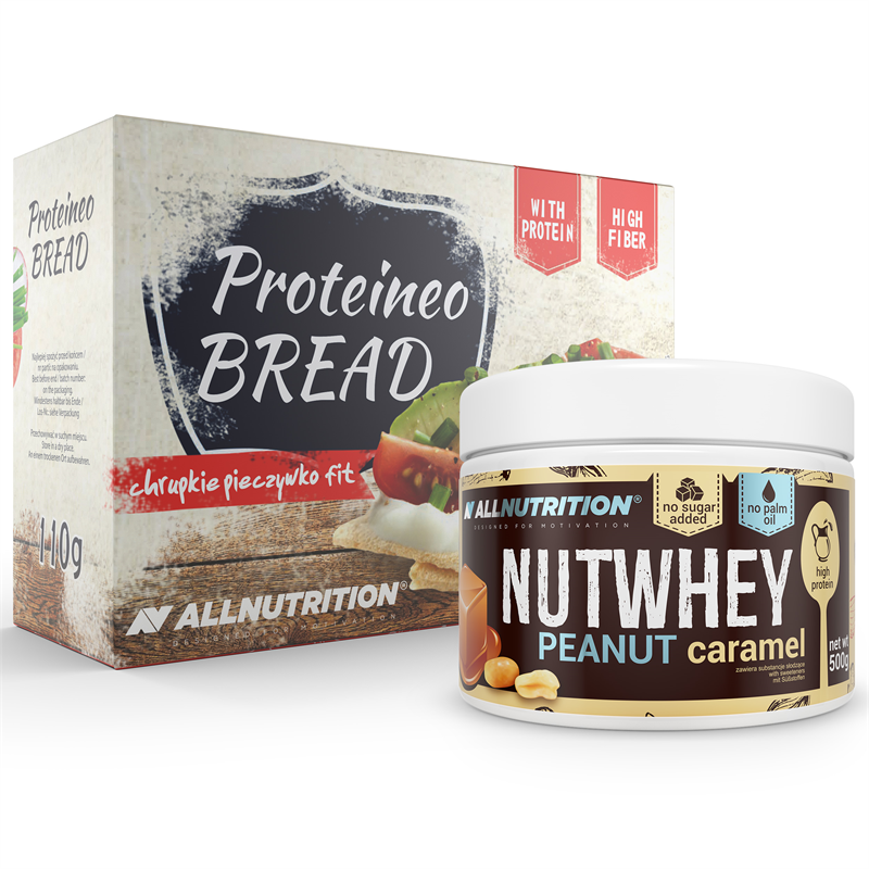 ALLNUTRITION Nutwhey Peanut Caramel 500g + Proteineo Bread 110g GRATIS