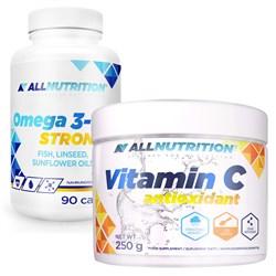 Omega 3 Strong 90 kapsułek + Vitamin C 250g Gratis