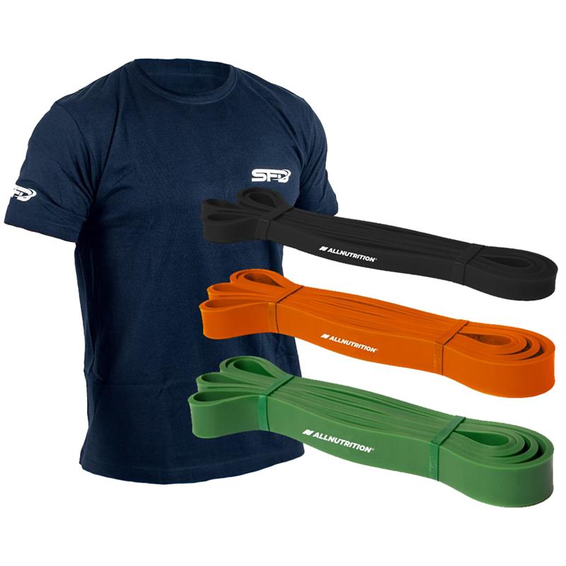 ALLNUTRITION Power Band-Zestaw Gum do Ćwiczeń + T-shirt Athletic Granatowy GRATIS