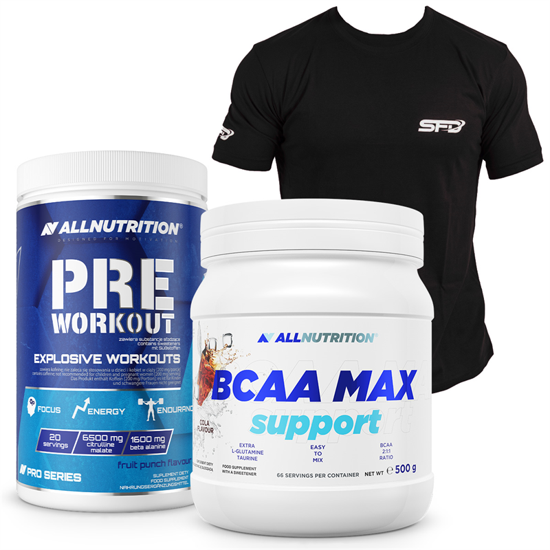 ALLNUTRITION Pre Workout Pro Series 600g+BCAA Max Support 500g+T-Shirt Athletic Czarny GRATIS