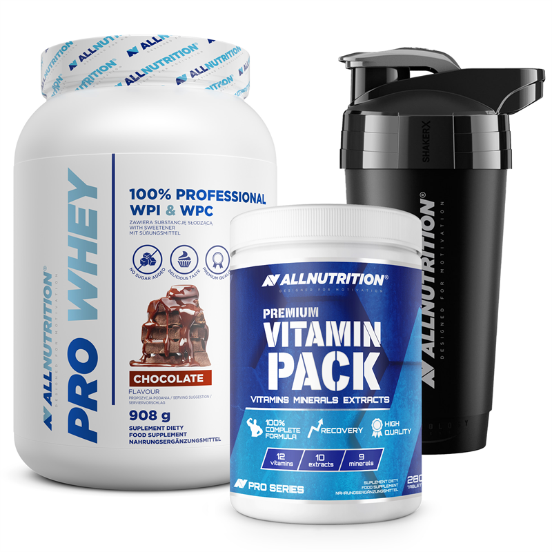 ALLNUTRITION Premium Vitamin Pack 280tab+Pro Whey 908g+Shaker Premium Gratis
