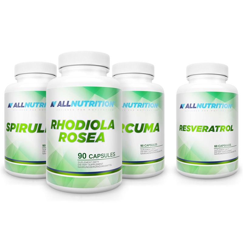 ALLNUTRITION Spirulina 90caps + Curcuma 90caps + Resveratrol 60caps + Rhodiola Rosea 90caps