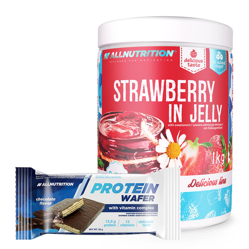 ALLNUTRITION Strawberry In Jelly 1000g + Protein Wafer 35g GRATIS