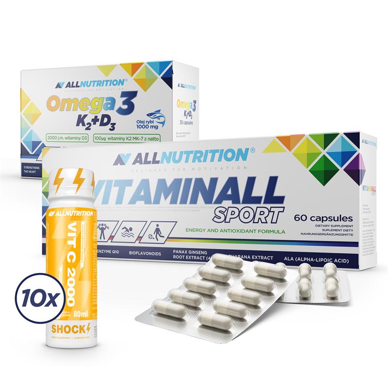 ALLNUTRITION Vitaminall Sport + Omega3 K2 D3 + 10xVitamin C Shot