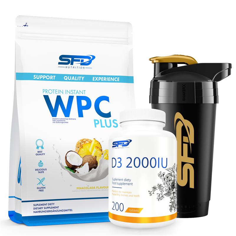 SFD NUTRITION WPC Protein Plus 750g+D3 2000 200tab+Shaker Premium