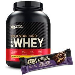 Whey Gold Standard 100% 2240-2280g + Fruit & Nut Protein Crisp Bar GRATIS