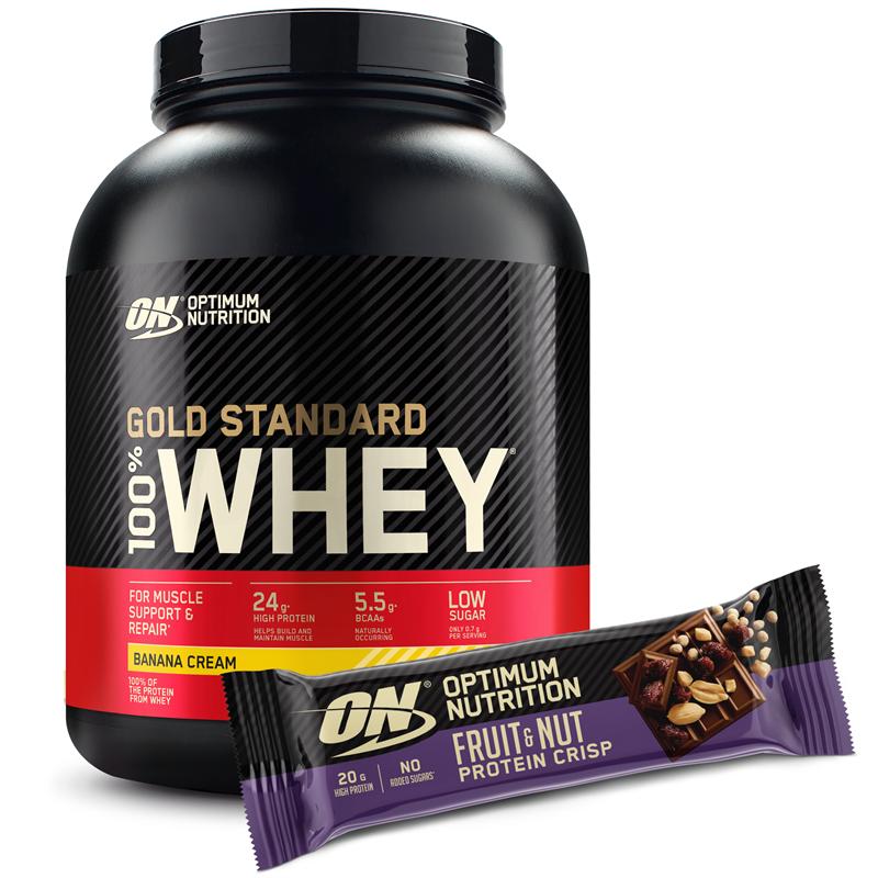 Optimum Nutrition Whey Gold Standard 100% 2240-2280g + Fruit & Nut Protein Crisp Bar GRATIS
