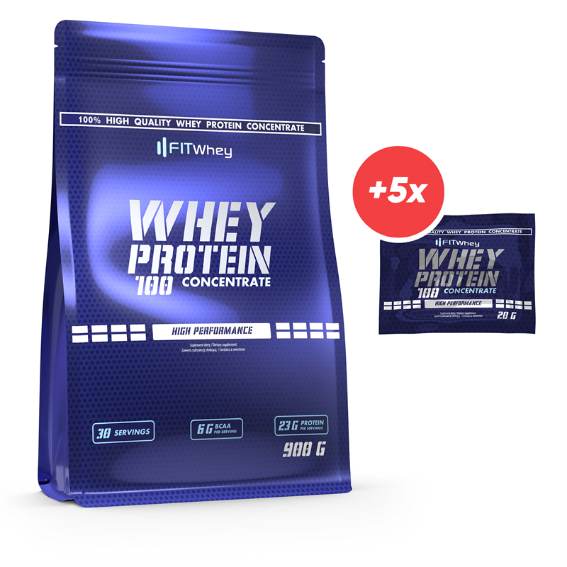 FitWhey Whey Protein 100 Concentrate 900g + 5x Whey Protein 100 Concentrate 20g GRATIS