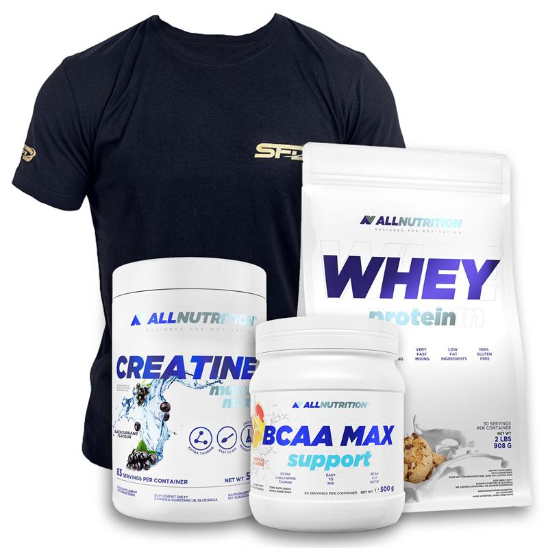 ALLNUTRITION Whey Protein 908g+BCAA Max 500g+Creatine 500g+T-shirt