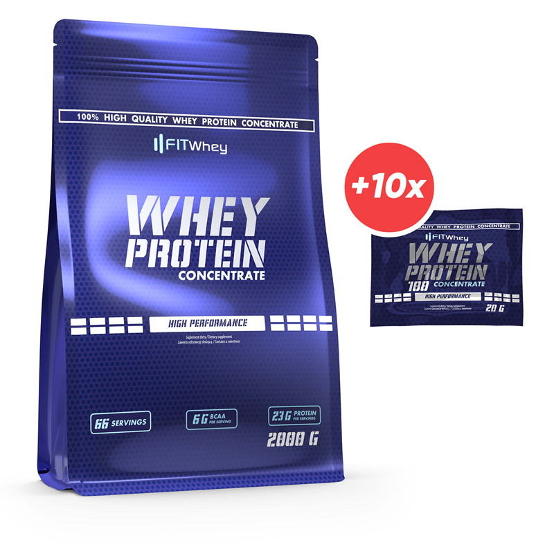 FitWhey Whey Protein Concentrate 2000g + 10x Whey Protein 100 Concentrate 20g GRATIS