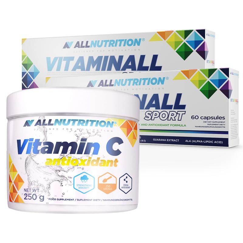 ALLNUTRITION 2x VitaminALL Sport 60 kapsułek + Vitamin C 250g Gratis