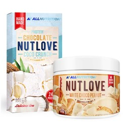 NUTLOVE WHITE CHOCO PEANUT 500g + PROTEIN CHOCOLATE NUTLOVE COCO CRUNCH 100g