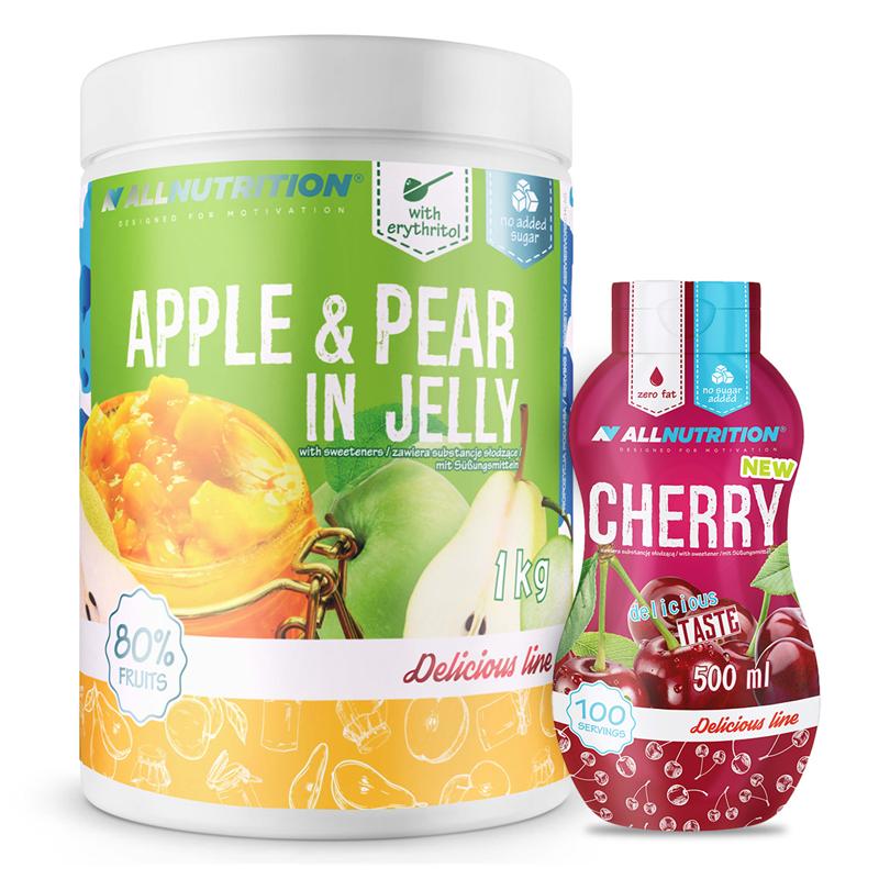 ALLNUTRITION Apple & Pear In Jelly 1000g + Sweet Sauce 500ml Gratis