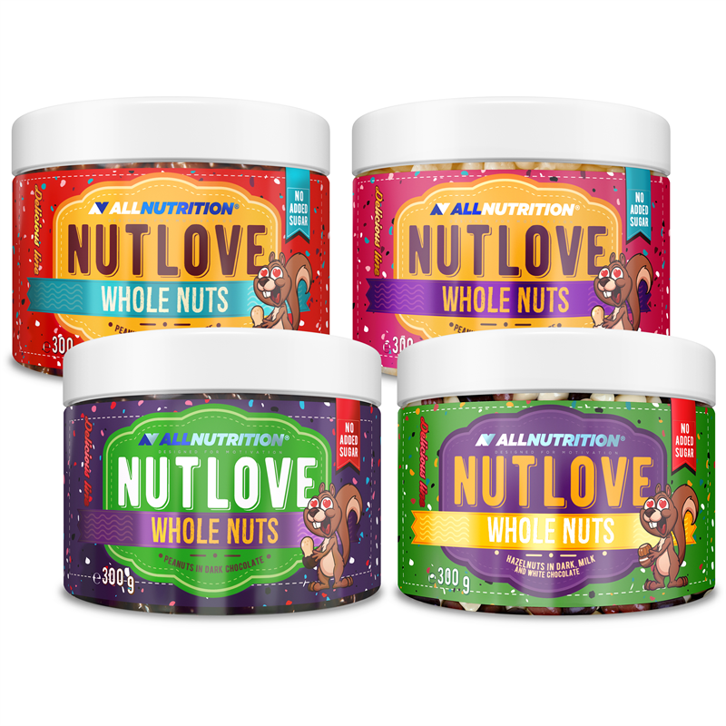 ALLNUTRITION 3x Nutlove Wholenuts - Arachidy + Nutlove Wholenuts - Orzechy Laskowe 300g