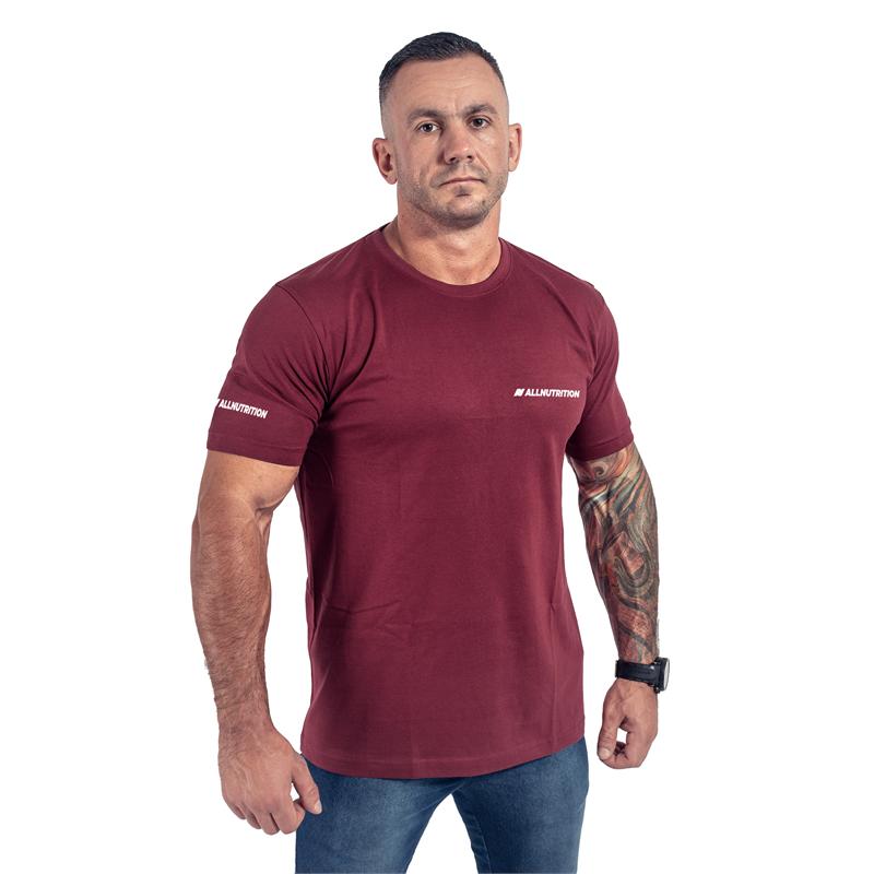ALLNUTRITION T-Shirt Męski Slim FIT Bordowy