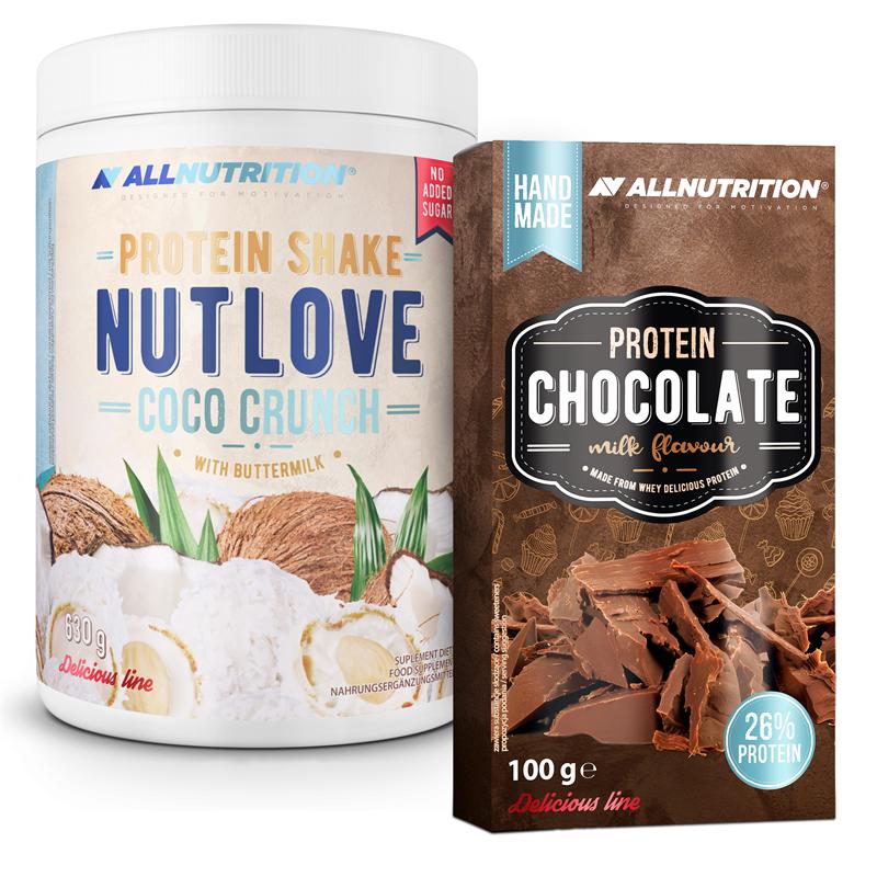 ALLNUTRITION NUTLOVE Protein Shake Coco Crunch 630g + Protein Chocolate 100g GRATIS