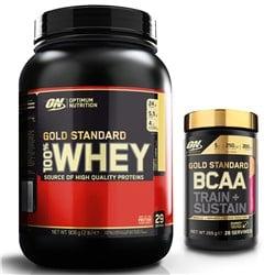 Whey Gold Standard 100% 908g + BCAA Train + Sustain 266g
